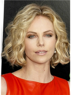 Charlize Theron Hairstyle Short Wavy Full Lace Human Hair Bob Wigs