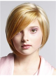 Honey Short Straight Full Lace 100% Indian Remy Hair Bob Wigs
