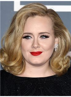 Adele Hairstyle Medium Wavy Full Lace Human Hair Bob Wigs