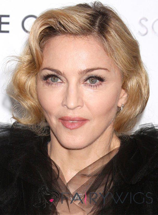 Madonna Hairstyle Short Wavy Full Lace Human Hair Bob Wigs