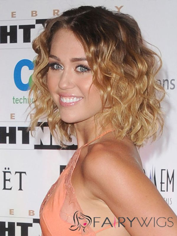 Miley Cyrus Hairstyle Medium Wavy Full Lace Human Hair Bob Wigs