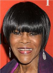 Quality Cicely Tyson Short Straight Capless Remy Human Wigs for Black Women