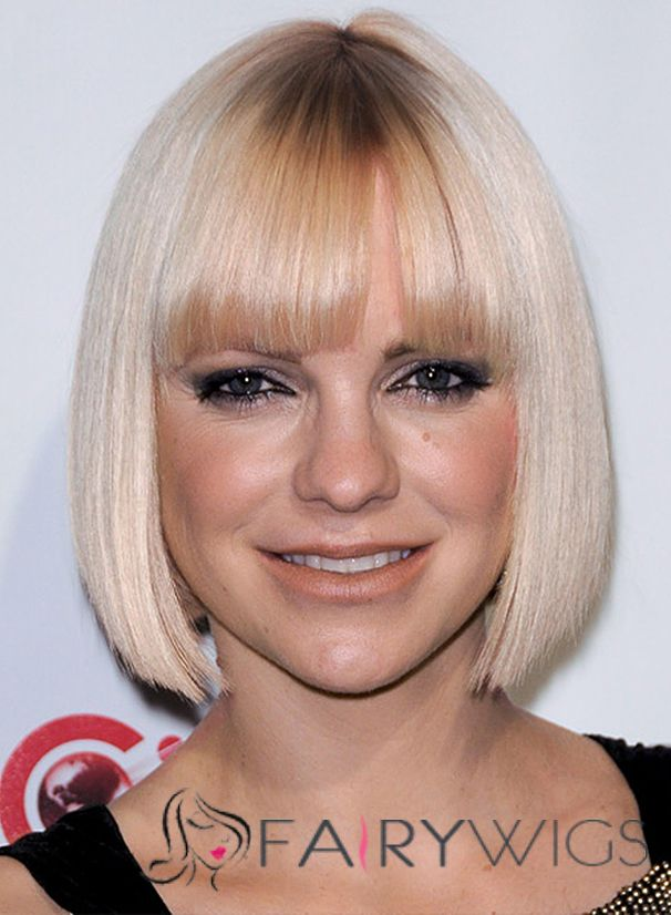 Anna Faris Hairstyle Short Straight Capless Human Hair Bob Wigs