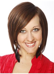 Salon Short Straight Lace Front Indian Remy Hair Bob Wigs