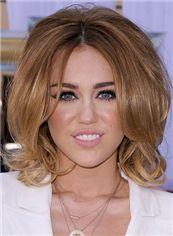 Miley Cyrus Hairstyle Medium Wavy Full Lace Human Hair Bob Wigs