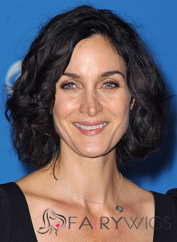 Carrie Anne Moss Hairstyle Short Wavy Lace Front Human