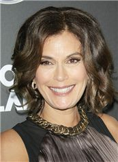 Teri Hatcher Hairstyle Short Wavy Full Lace Human Hair Bob Wigs
