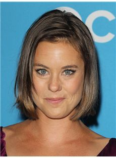 Ashley Williams Hairstyle Short Straight Lace Front Human Hair Bob Wigs