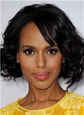 Boutique Kerry Washington Short Wavy Lace Front Remy Human Wigs for Black Women