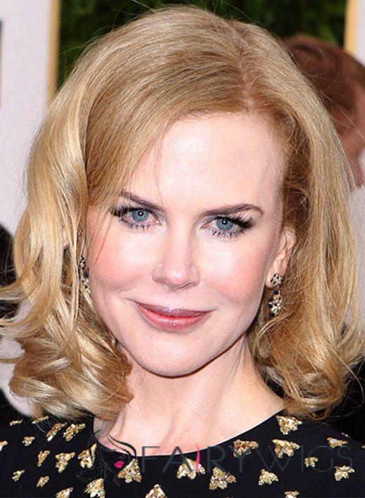 Nicole Kidman Hairstyle Short Wavy Lace Front Human Hair Bob Wigs ...