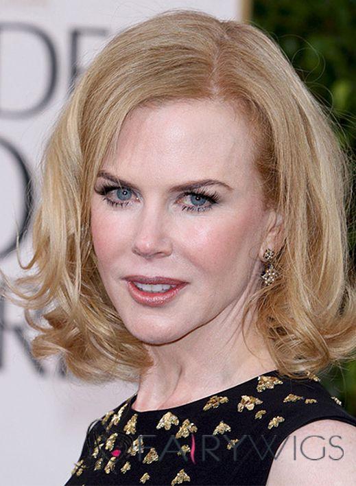Nicole Kidman Hairstyle Short Wavy Lace Front Human Hair