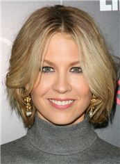 Jenna Elfman Hairstyle Short Wavy Full Lace Human Hair Bob Wigs