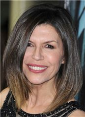 Finola Hughes Hairstyle Medium Straight Lace Front Human Hair Bob Wigs