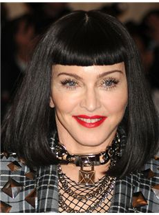 Chic Madonna Medium Straight Full Lace Remy Human Bob Wigs