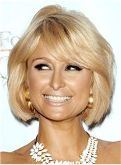 Paris Hilton Hairstyle Short Wavy Capless Human Hair Bob Wigs