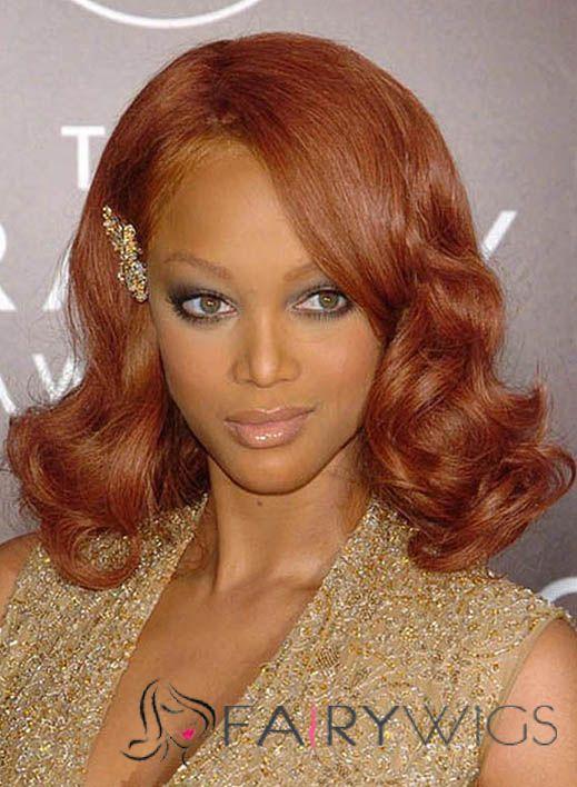 Creative Tyra Banks Medium Wavy Lace Front Human Hair Wigs