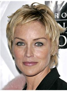 Designed Sharon Stone Short Straight Full Lace Human Hair Wigs