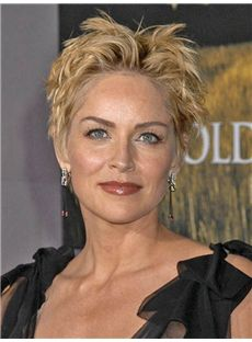 Discounted Sharon Stone Short Wavy Full Lace Real Human Hair Wigs