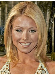 Excellent Kelly Ripa Medium Straight Full Lace Real Human Hair Wigs