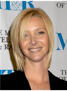 Lisa Kudrow Hairstyle Short Straight Lace Front Remy Hair Wigs