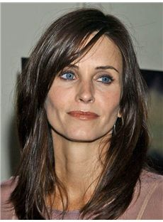 Fetching Courteney Cox Medium Straight Lace Front Real Human Hair Wigs