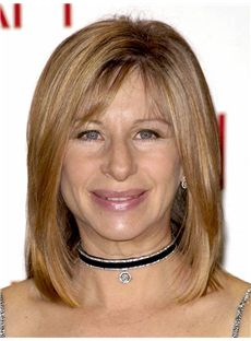 Barbra Streisand Hairstyle Medium Straight Lace Front Remy Hair Wigs