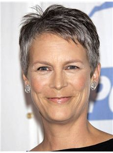 Great Jamie Lee Curtis Short Straight Full Lace Real Human Hair Wigs
