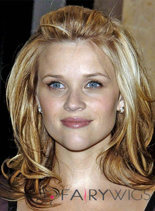 High Reese Witherspoon Hairstyle Medium Wavy Full Lace Human Wigs