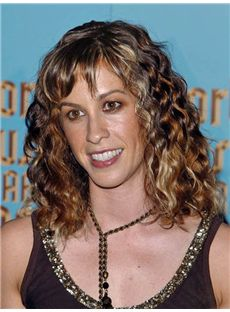 Illusion Alanis Morissette Hairstyle Medium Wavy Lace Front Human Wigs for Black Women for Black Women