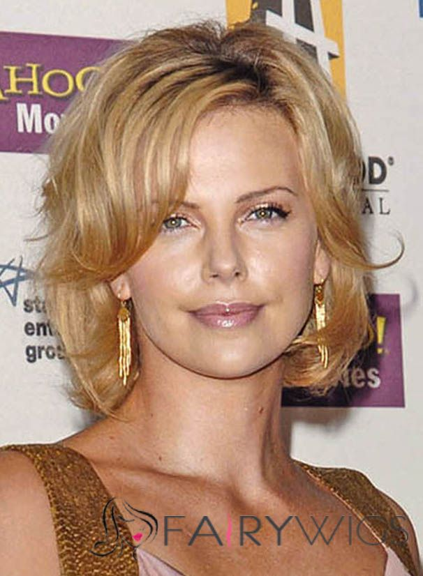 Luscious Charlize Theron Short Wavy Lace Front Real Human Hair Wigs