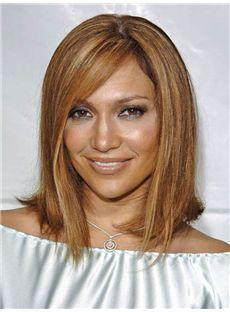 Jennifer Lopez Hairstyle Medium Straight Capless Remy Hair Wigs