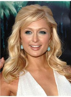 Mature Paris Hilton Hairstyle Medium Wavy Capless Remy Human Wigs