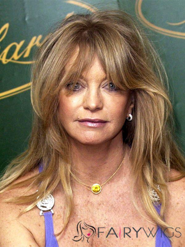 Newest Goldie Hawn Medium Wavy Capless Human Hair Wigs Fairywigs
