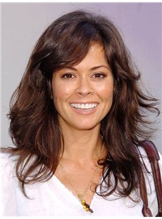 Novelty Brooke Burke Hairstyle Medium Wavy Capless Human Wigs