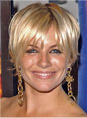 Pleasant Sienna Miller Hairstyle Short Straight Capless Remy Human Wigs