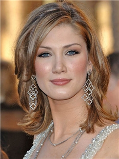 Popular Delta Goodrem Medium Wavy Lace Front Real Human Hair Wigs