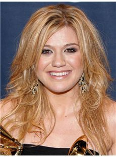Sexy Kelly Clarkson Medium Wavy Lace Front Real Human Hair Wigs
