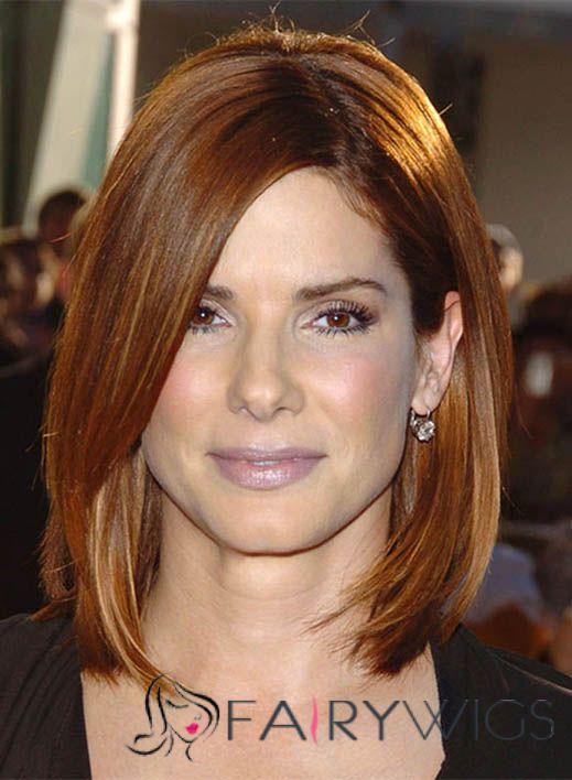 Top Sandra Bullock Medium Straight Full Lace Human Hair Wigs