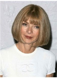 Trendy Anna Wintour Short Straight Full Lace Real Human Hair Wigs