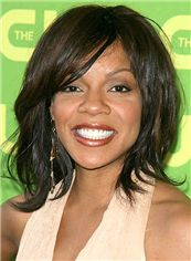 Ture Wendy Raquel Robinson Medium Wavy Capless Human Wigs for Black Women