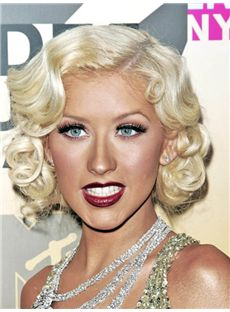 Christina Aguilera Hairstyle Short Wavy Full Lace Remy Hair Wigs