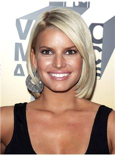 Vogue Jessica Simpson Hairstyle Short Straight Full Lace Human Wigs