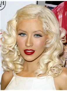 Advanced Christina Aguilera Hairstyle Medium Wavy Full Lace