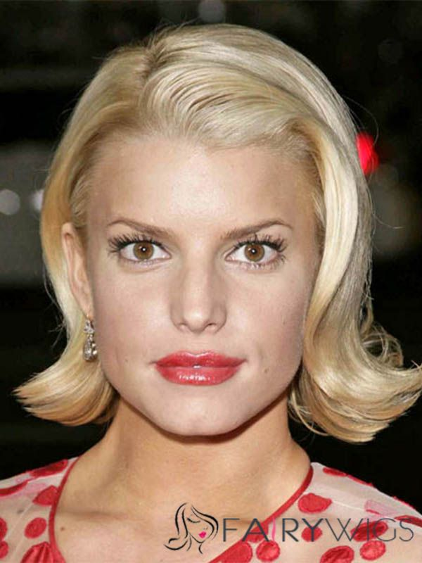 Amazing Jessica Simpson Hairstyle Short Wavy Full Lace Human Wigs