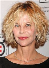 Beautiful Meg Ryan Short Wavy Full Lace Real Human Hair Wigs
