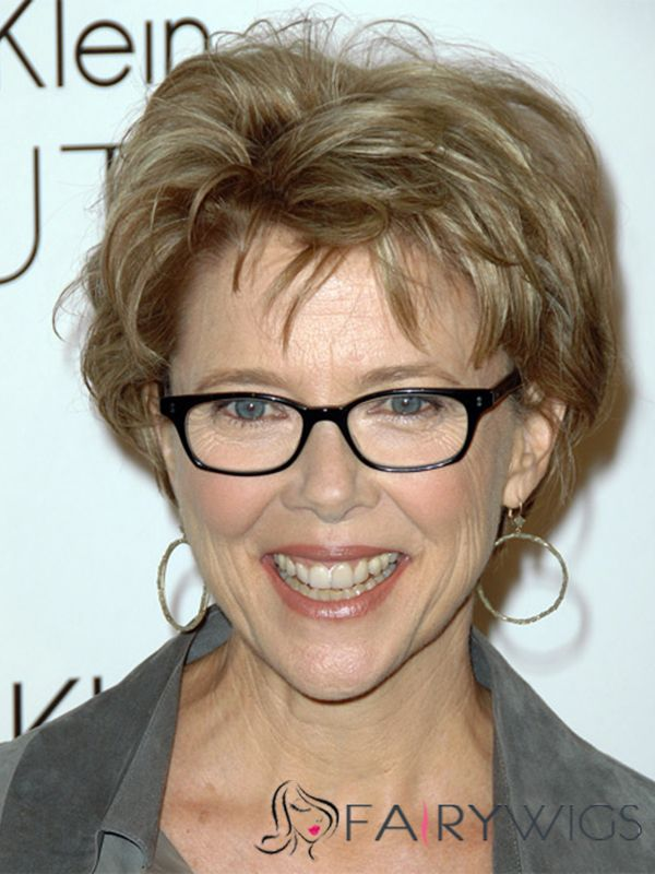 Genuine Annette Bening Short Wavy Full Lace Human Hair Wigs