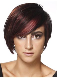 Mature Short Straight Capless Human Hair Wigs