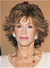 Mysterious Jane Fonda Short Wavy Capless Real Human Hair Wigs
