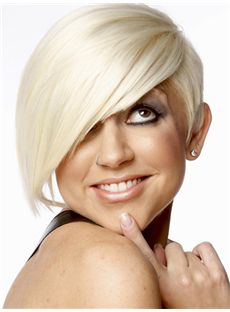 Bright Short Straight Full Lace Remy Hair Wigs