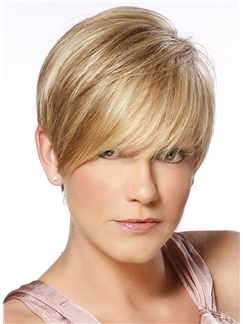 Brilliant Short Straight Full Lace Real Human Hair Wigs